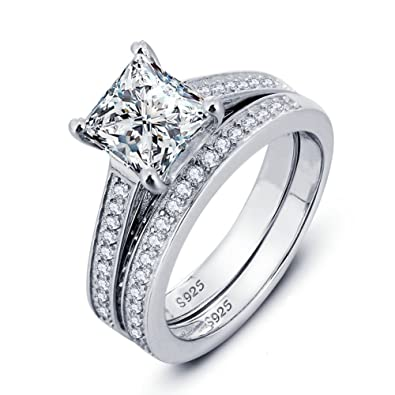 Phocksin Sterling Silver Engagement Wedding Ring Sets For Women