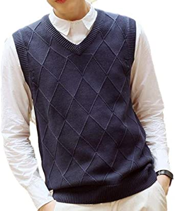 WSPLYSPJY Men Slim Fit Knitted Sweater Sleeveless Pockets Button Down Sweater Vests