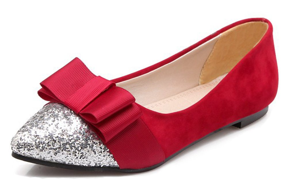 Aisun Women's Glitter Sequins Low Cut Pointed Toe Driving Cars Dressy Slip On Flats Shoes With Bow B07B6886H6 4 B(M) US|Red