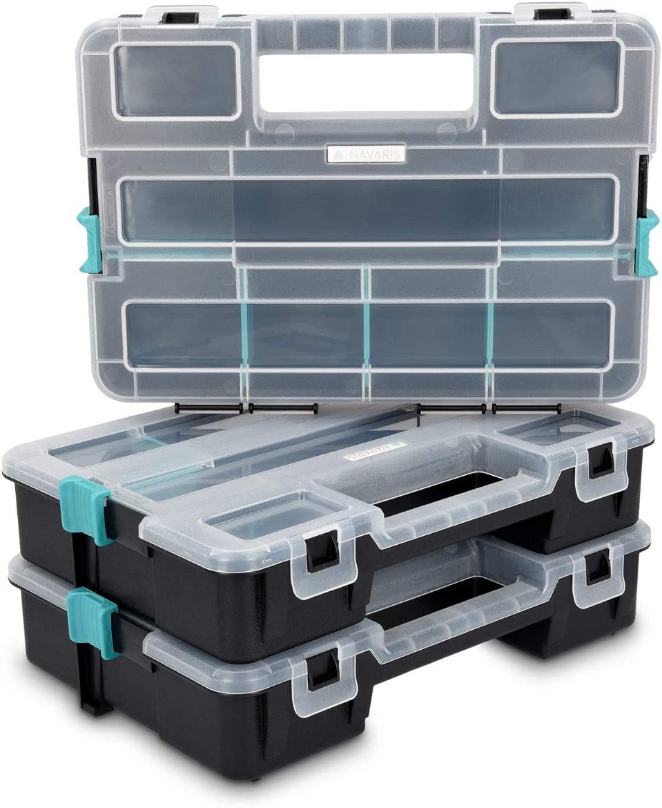 Navaris Plastic Storage Box – Stackable Organizer Case with Adjustable and Removable Divider Compartment for Tools, Small Items, Jewelry – 3 Boxes