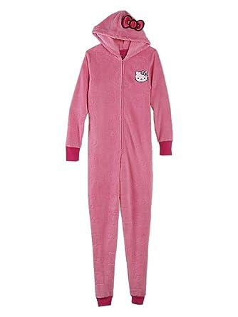Sanrio Womens Pink Fleece Hello Kitty Hooded Union Suit Blanket Sleeper Pajama M