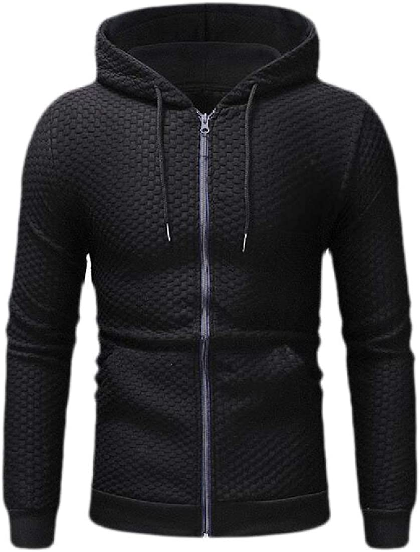 Wofupowga Men Sweatshirt Coat Drawstring Zipper Up Long-Sleeve Hoodie