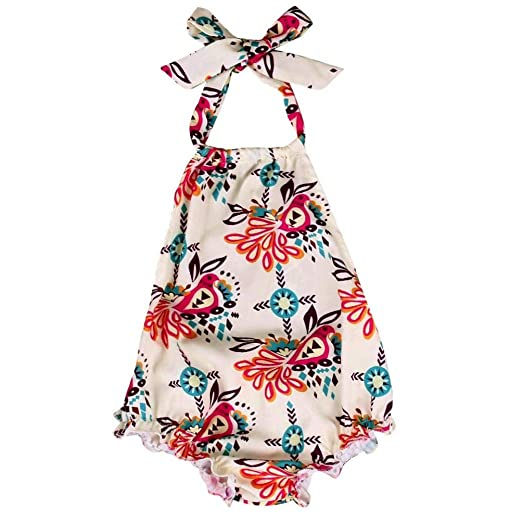7624725b782 Gotd Newborn Kids Baby Girls Floral Romper Halter Jumpsuit Sunsuit Outfits  Clothes (2 Tall