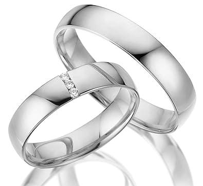 2 X Trauringe 925 Silber Paarpreis Ag 13 V2 Mit Swarovski Crystal