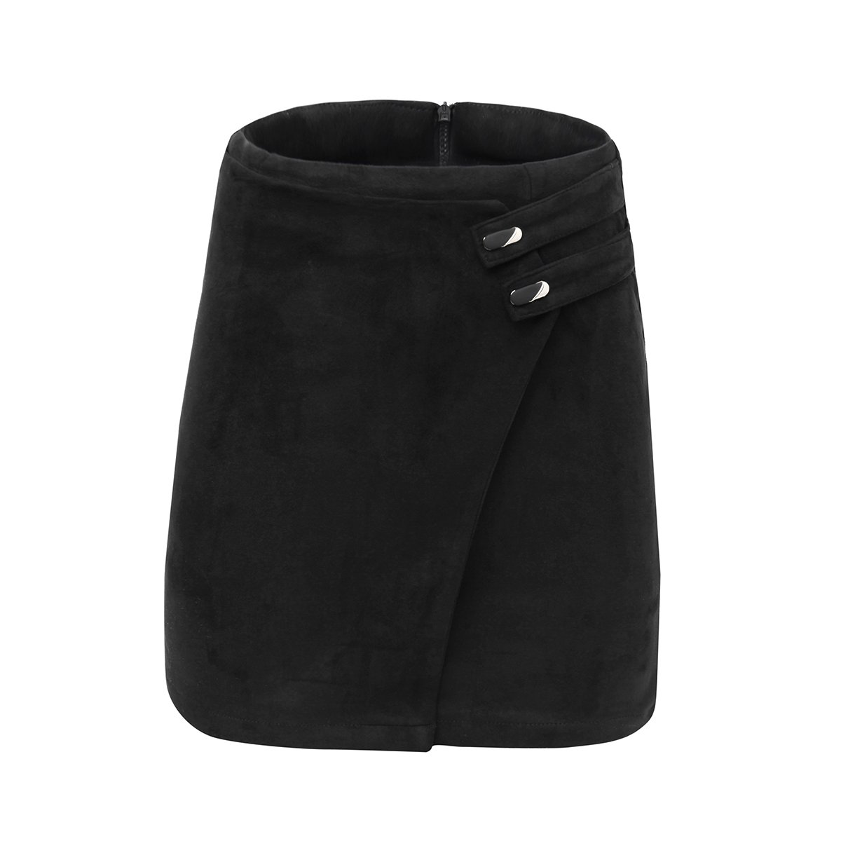 VKOOVIFA Women's High Waist Faux Suede Zipper Back A-Line Bodycon Short Mini Skirts Black Small
