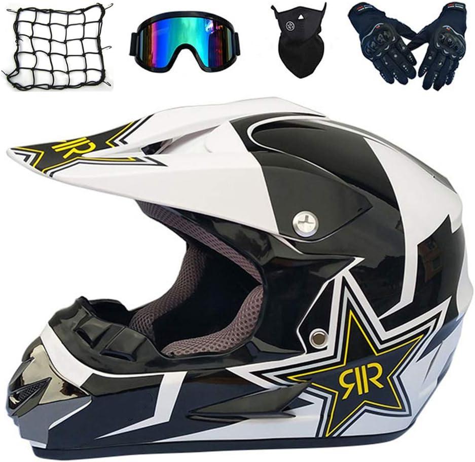 Motorrad Crosshelm Fullface Enduro MTB Helm Cross Helm Motorradhelm Damen Herren 4 Stile Verf/ügbar MRDEAR Motocross Helm mit Brille//Handschuhe//Maske
