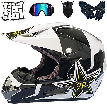 MRDEAR Full Face MTB Helmet with Goggles Gloves Mask Helmet Net Adult Motorcycle Motocross Helmet Set Motorbike Off Road Crash Helmet Protective Gear Black//Rockstar