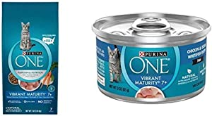 Purina ONE Natural Senior Dry Cat Food, Vibrant Maturity 7+ - 7 lb with ONE Grain Free, Natural Senior Pate Wet Cat Food, Vibrant Maturity 7+ Chicken & Ocean Whitefish Recipe