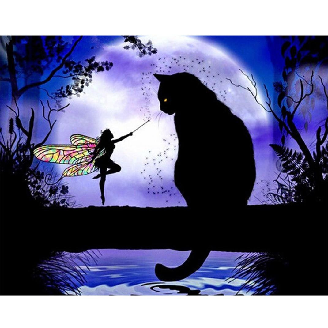 Hot New DIY 5D Diamond Painting Kit Crystals Diamond Embroidery Rhinestone Painting Pasted Paint By Number Kits Stitch Craft Kit Home Decor Wall Sticker F Black Cat Butterfly Girl ❤️ ZYEE