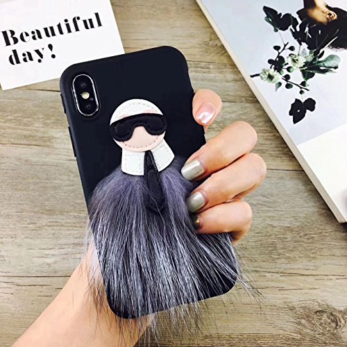 Soft TPU Monster Bug Fur Back Case for iPhone X iPhoneX 2017 Slim Fit Luxury Designer Cute Chic High Fashion Fashionable Cool Girls - Designers Luxury