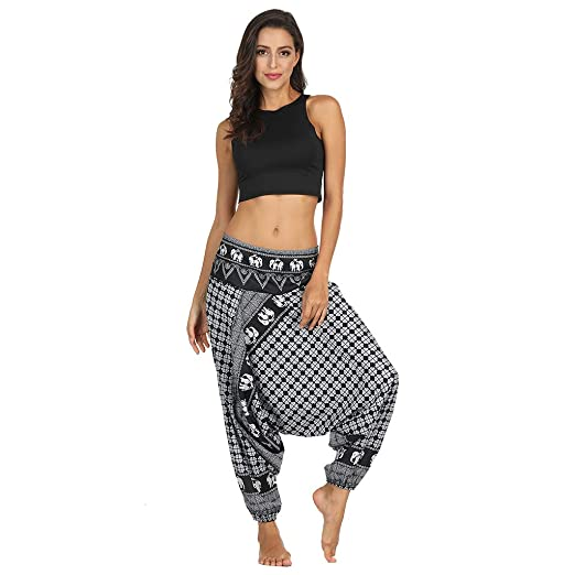 5924476a2 Sinfu Women Men Boho Ethnic Print Fitness Yoga Pants Loose Beams Harem Pants  Casual Sports Workout