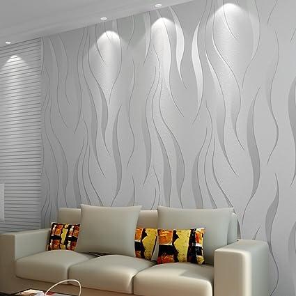 Icoco 10m Luxury 3d Wave Flocking Wallpaper Rolls For Living Room Bedroom Sliver Grey