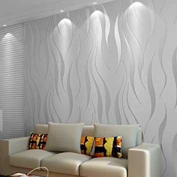 10m Non Woven Modern Minimalist Water Plant Pattern Home Bedroom Improvement Luxury 3d Wave Flocking Wallpaper Rolls Silver Grey Amazon Co Uk Diy Tools