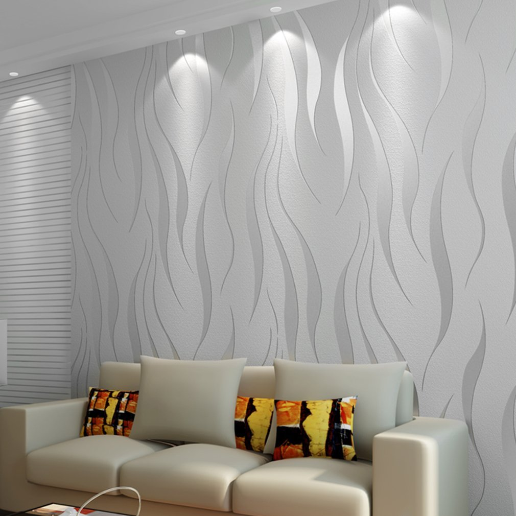 Papel Pintado Gris Papel pintado Wall Paper 3d Ondas Patr/ón Plata Gris 10/m x 0.53/m Dormitorio Sal/ón TV Fondo