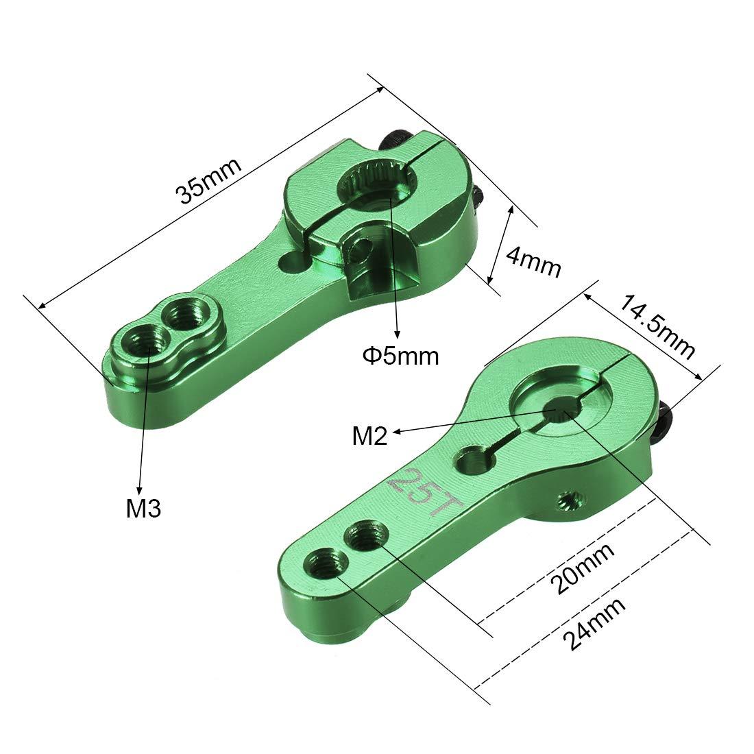 uxcell Aluminum Servo Horn 25T M3 Thread Green for Futaba Savox Xcore HL HSP HD Power Go Tech,5pcs