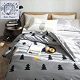 BuLuTu Forest Tree 100% Cotton Kids Bedding Cover Set Full Grey Duvet Cover Set Queen For Teen Boys Girls Adults Zipper Closure,Lightweight Soft,Gifts for Kids,Friends,Family with Love,NO COMFORTER