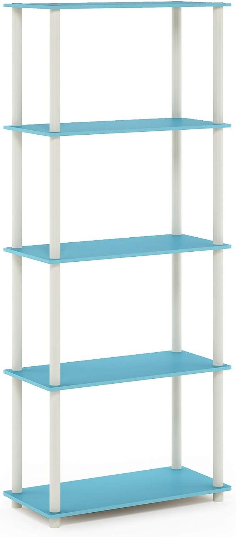 Furinno Turn-N-Tube 5-Tier Multipurpose Shelf Display Rack, Single, Light Blue/White