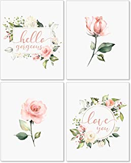 Confetti Fox Floral Nursery Wall Art Decor - 8x10 Unframed Set of 4 Pearl Prints -