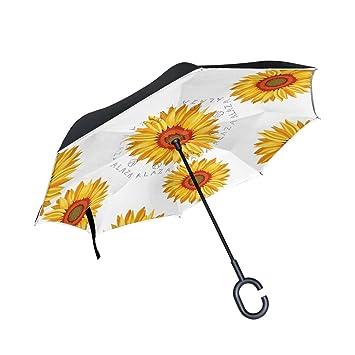 MAILIM Paraguas Reversible para Coche, Diseño de Girasoles, Color Amarillo