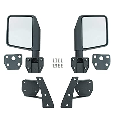 EAG Reflection Mirrors with Pillar Post Relocation Brackets Fit for 07-18 Jeep Wrangler JK: Automotive