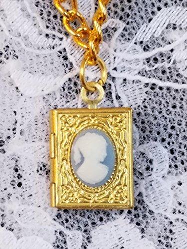 (Goldtone Blue Lady Cameo Locket Necklace)