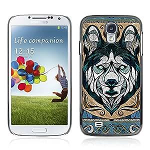 CASETOPIA / Wolf Illustration / Samsung Galaxy S4 I9500 / Prima Delgada SLIM Casa Carcasa Funda Case Bandera Cover Armor Shell PC / Aliminium