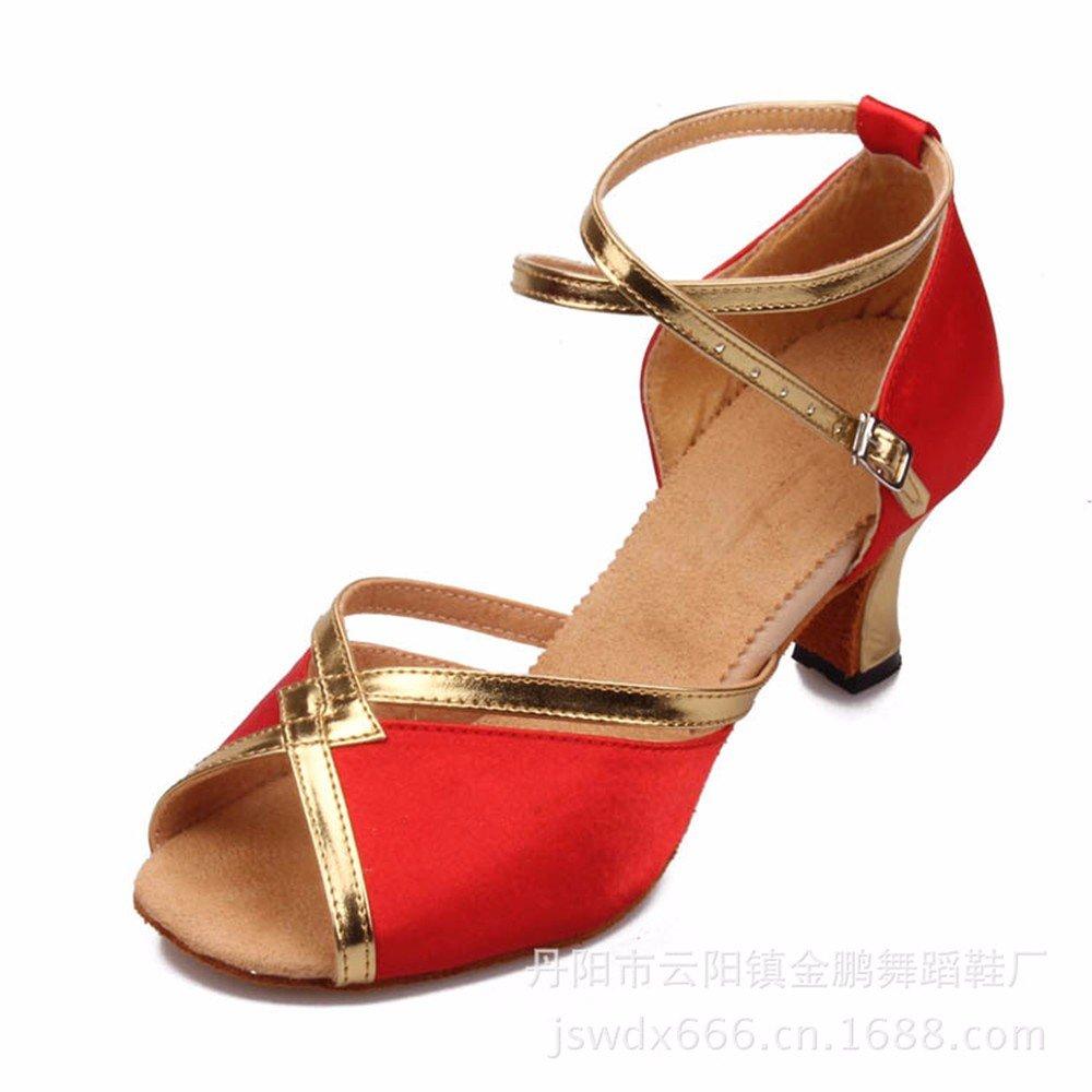 rouge US7.5 EU38 UK5.5 CN38 Masocking@ Femme Chaussures de Danse Sandales L'usure de la soie brute de plancher bas