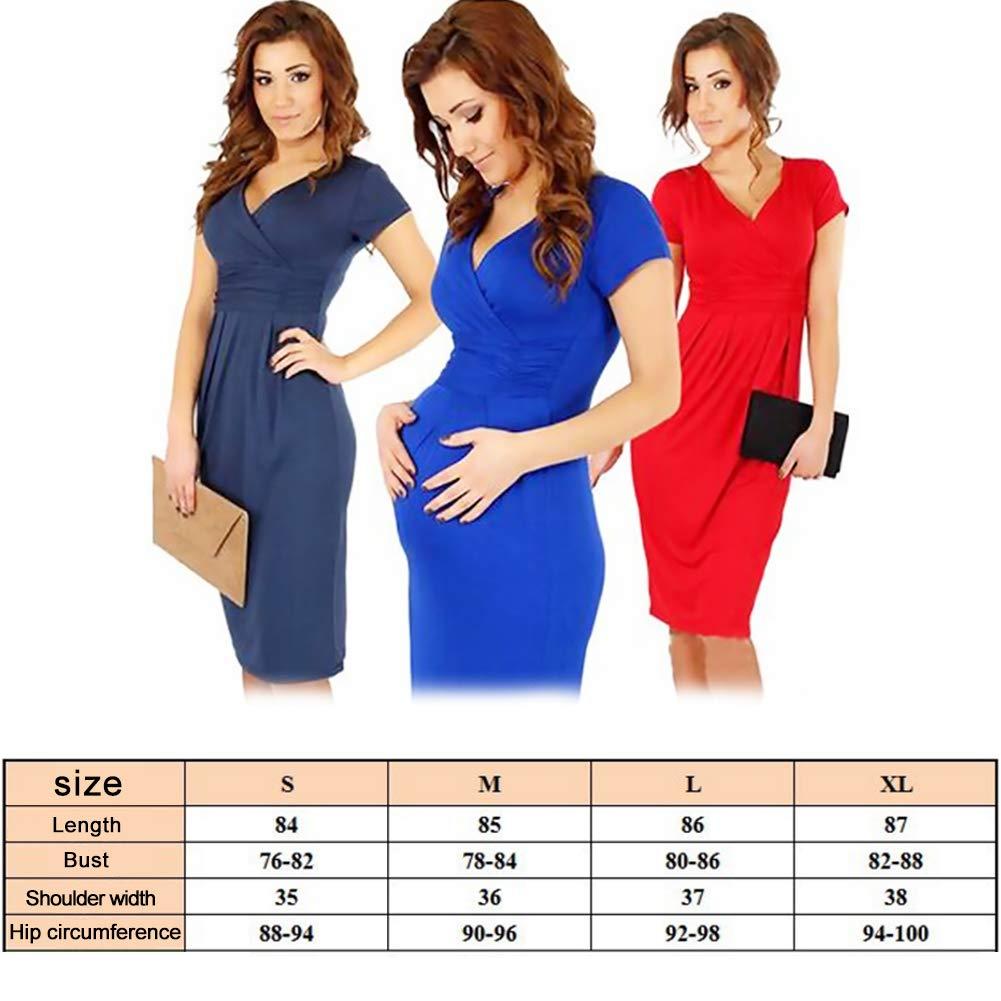 genou pliss/ée robe de maternit/é robe rouge V-cou des femmes joizo /À manches courtes
