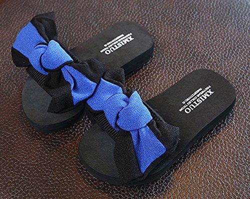 Mules Epaise Plage Femme Bleu Aisun Noeud Mode Semelle tYfFY8qw