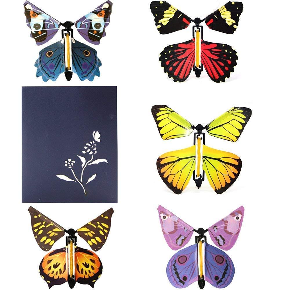 heytech Butterfly 3D Pop-up Greeting Card 5 Magic Flying Butterflies Hand Assembled Ideal Birthdays Wedding Anniversaries