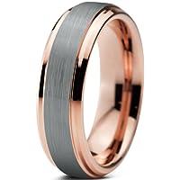 Tungsten Wedding Band Ring 6mm for Men Women Comfort Fit 18K Rose Gold Plated Beveled Edge Brushed Polished
