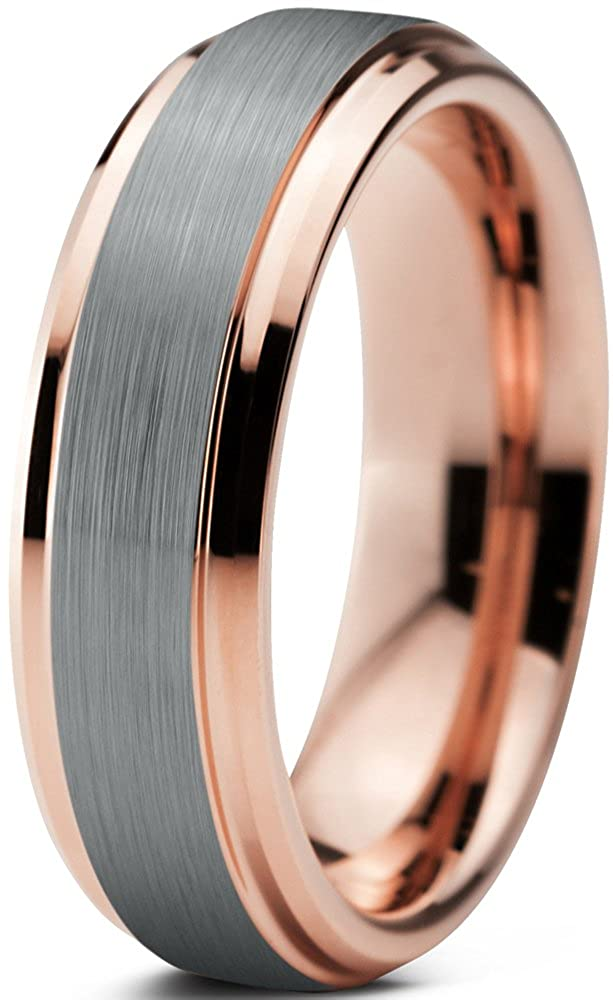 Tungsten Wedding Band Ring 6mm for Men Women Comfort Fit 18K Rose Gold Plated Beveled Edge Brushed Polished Charming Jewelers CJCDN-372-B
