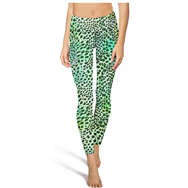 f2293018af386 PLOKINC Yoga Pants with Pockets for Womens Workout Leggings Leopard Cheetah  Print Yellow Green High Waist Girls Tights at Amazon Women's Clothing store: