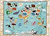 Kids Fleece Throw Blanket Educational World Map Africa Camel America Lama Allegator Ocean Australia Koala Classroom Home Decorations Throw