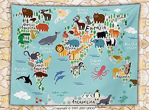 Kids Fleece Throw Blanket Educational World Map Africa Camel America Lama Allegator Ocean Australia Koala Classroom Home Decorations Throw by iPrint