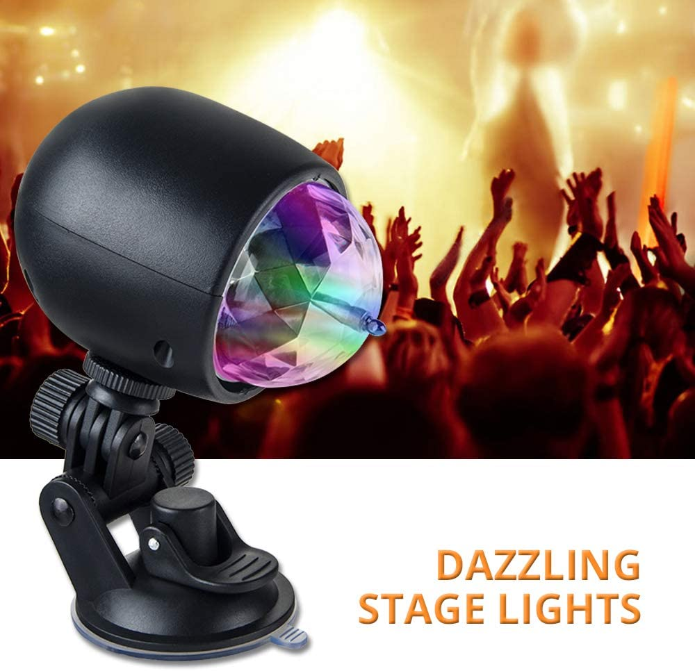 AmmToo Party Lights Portable Led Stage Lighting Effect Lamp USB Bracket Stage Lights Bulb RBG Ball Light for Home Room Dance Parties Bar Karaoke Xmas Wedding Show Club 1PC Disco Light Bulb