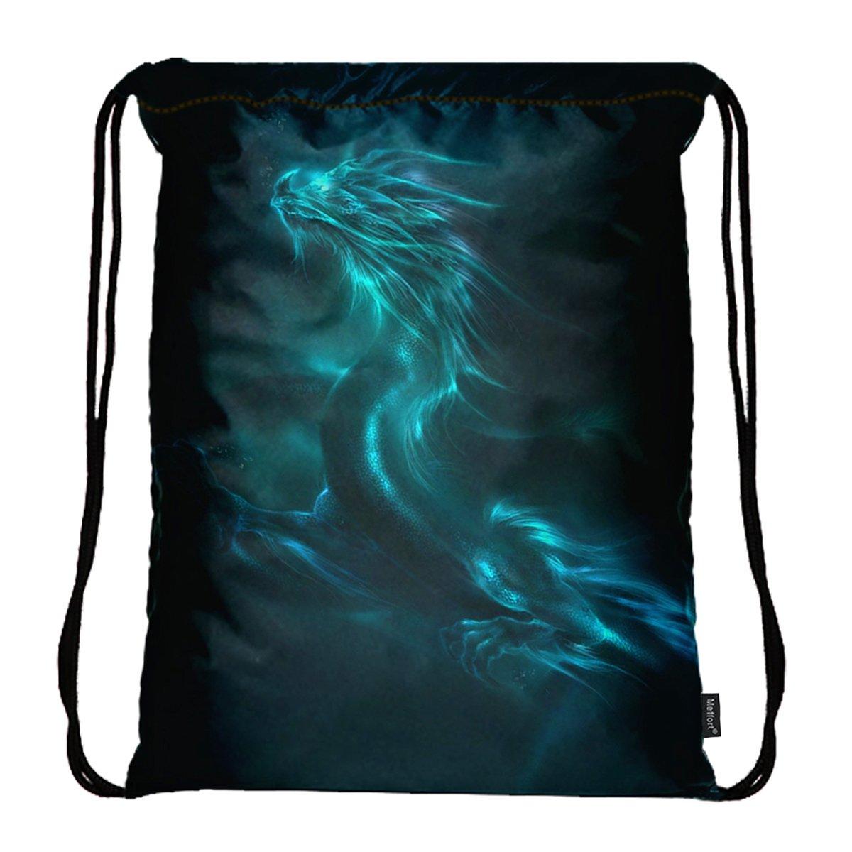 Meffort Inc Lightweight Drawstring Bag Sport Gym Sack Bag Backpack - Blue Dragon