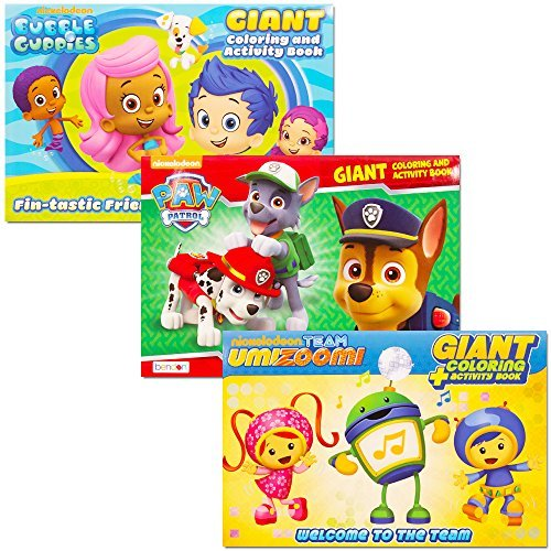 Nickelodeon Jr Coloring Book Super Set -- 3 Giant Books Featuring Paw Patrol, Bubble Guppies and Team (Bubble Team)
