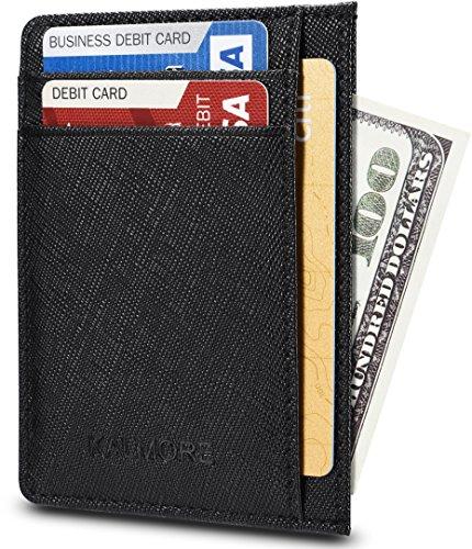KALMORE Unisex-Adult's Petite Credit Card Holder Leather Slim Minimalist Wallet, Crosshatch black, Classic