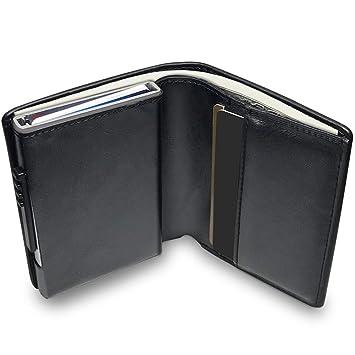 af70ff6ab KOOGOO Cuero Tarjetero RFID Cartera Crédito,Slim y pequeña Portatarjetas  extraíble para Identificación Tarjetas Crédito Licencia de Conducir,Cartera  ...