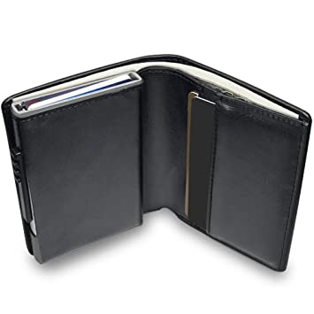 7133da3c4ff19 KOOGOO Leder Geldbeutel Männer Premium Schlanker Portemonnaie Herren  Kreditkartenetui RFID