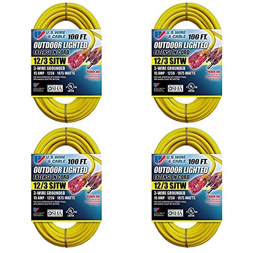 US Wire 12/3 SJTW 100-Foot Outdoor Lighted Extension Cord (Yellow, 4-Pack)…
