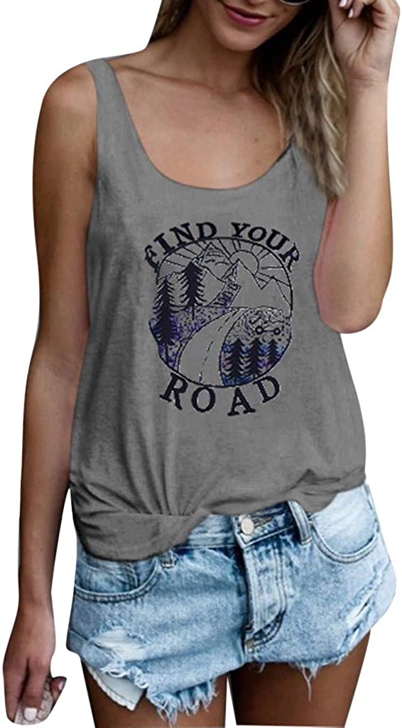 Severkill Womens Find Your Road Inspire Cheer up T Shirt Letters Graphic Casual Short Sleeve Tops Tees Blouses
