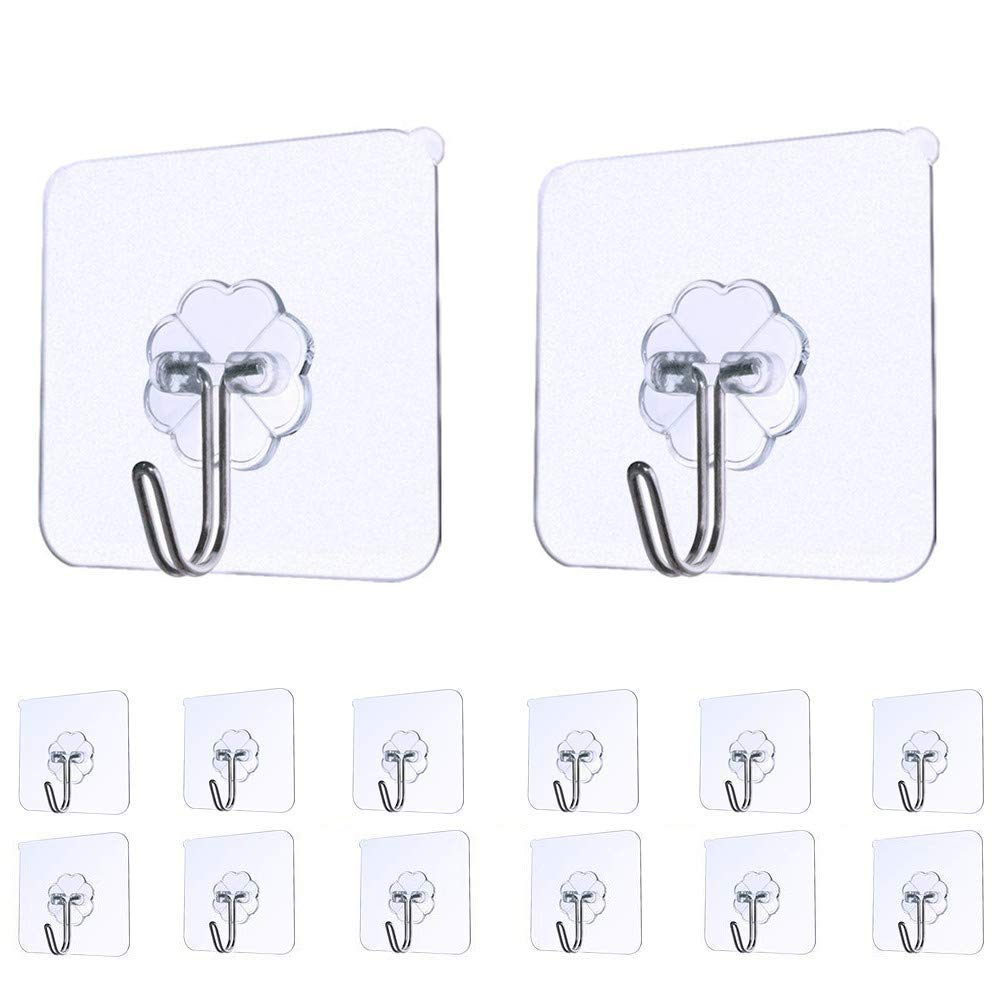 Pet1997 14pcs Non-slip Transparent Seamless Wall Hook Anti-skid Hooks Reusable Traceless Wall Hanging Hooks, Sticky Wall Hangers Self Adhesive Hooks Metal Utility Hanging Hooks Storage (Clear)