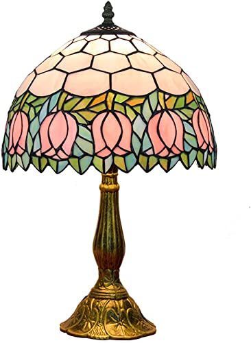 YAP Pink Tulip Tiffany Table Lamp Victorian Style Luxury Bedside Lamp 12 Inch Resin Base Bedroom Dresser Bookcase Reading Light
