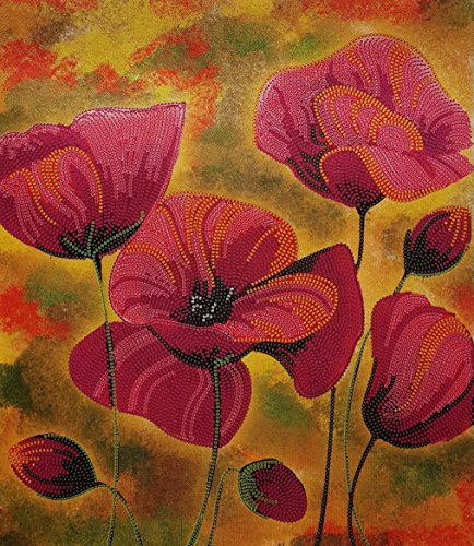 Bead Embroidery kit Red Poppies Beaded Cross Stitch Floral Pattern Needlepoint Handcraft Tapestry kit