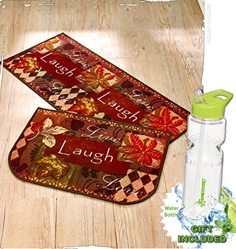 Gift Included- 2-Pc. Kitchen Live Laugh Love Fall Home Door Mat Rug Carpet Set & FREE Bonus 23 oz Water Bottle byHomecricket