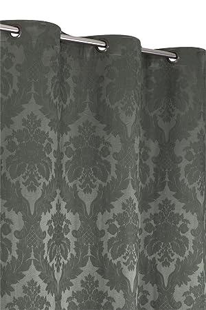 cheap rideau coton jacquard x cm style baroque gris kaki with rideau style baroque. Black Bedroom Furniture Sets. Home Design Ideas