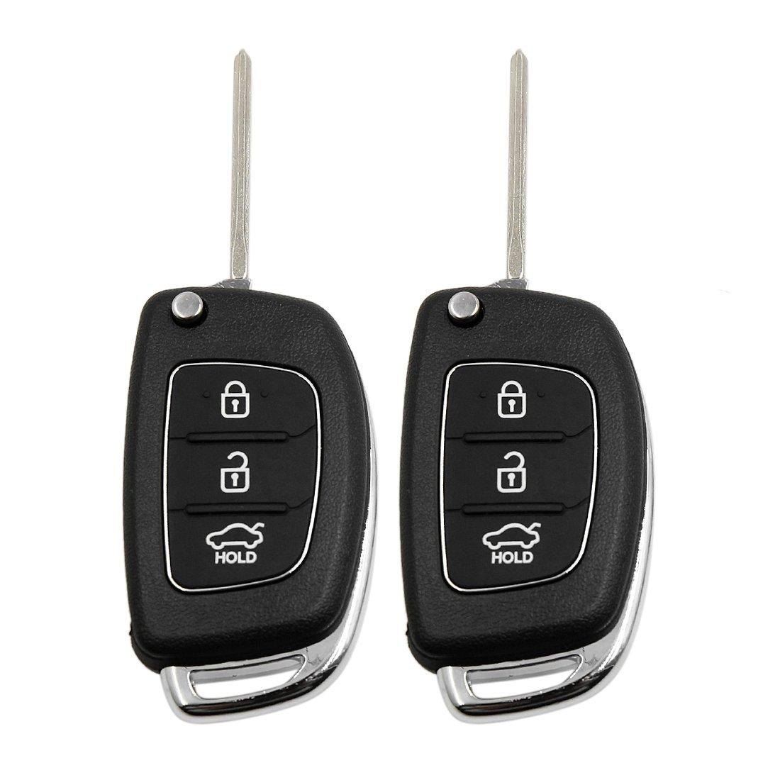 uxcell 2 Pcs 3 Buttons Flip Folding Uncut Key Remote Fob Case Replacement for Hyundai s17122500ux0049