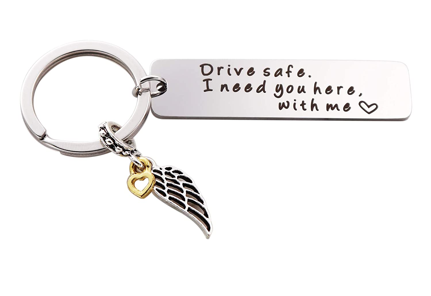 Drive Safe I Need You Here with Me Keychain, Drive Safe Keychain for Boyfriend Trucker Husband Gifts (Angel Wing and Gold Love) KimYoung